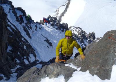 Saas Fee Runde mit Ski - Aufstieg Rimpfischhorn