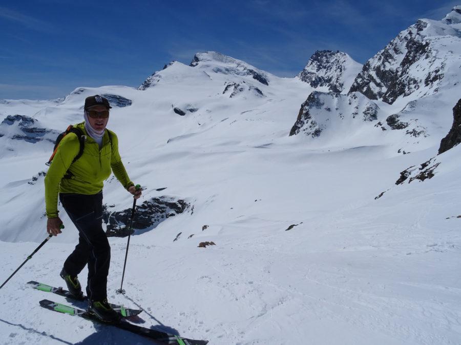 Saas Fee Runde mit Ski - Rückweg zur Britanniahütte