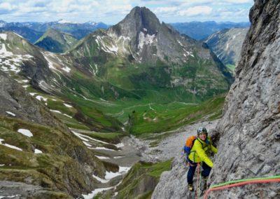 Mehrseillängen Klettern im Allgäu mit Bergführer